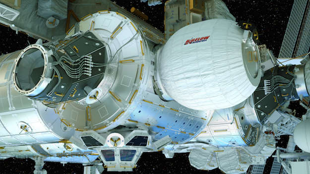 BEAM (Bigelow Expandable Activity Module) The inflated habitat, docked with the International Space Station (NASA) in March 2016.